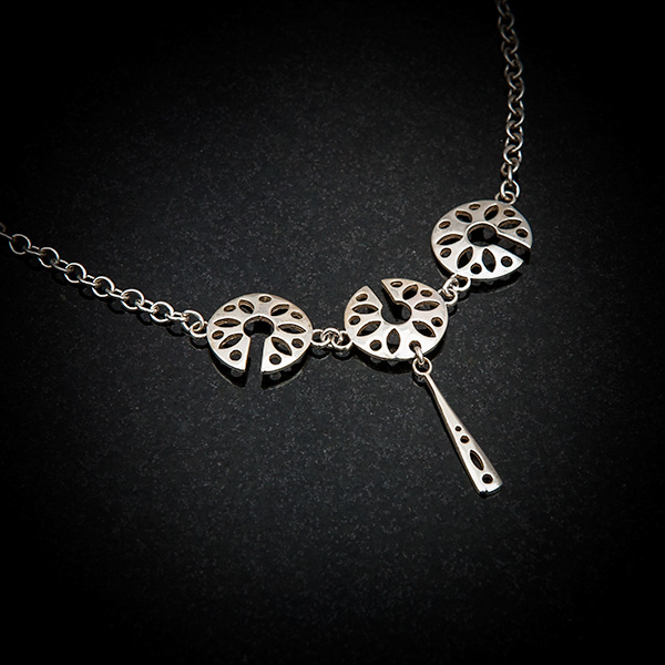 Fen 3 unit Pendant by Patricia Dudgeon Designs Three Delicate cut out roundels and a long dropper pendant in Hallmarked Sterling silver complete on chain.