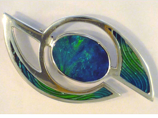 oval opal and enamel brooch