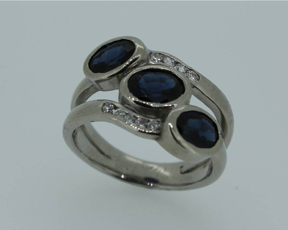 Palladium, sapphire and diamond ring