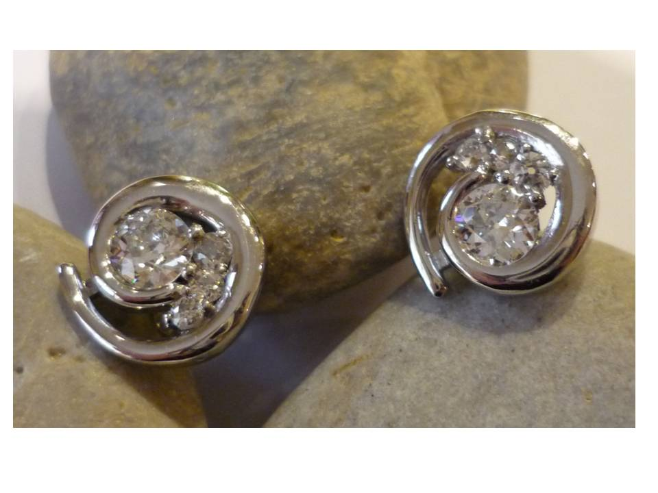 diamond set swirl earrings