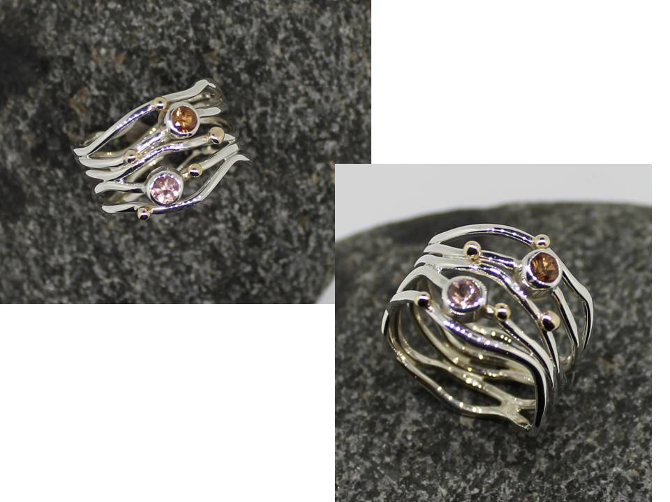 silver wire sapphir ring