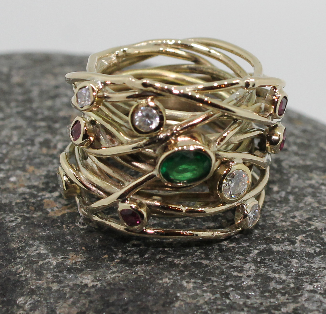 Emerald, diamond & ruby wire band ring