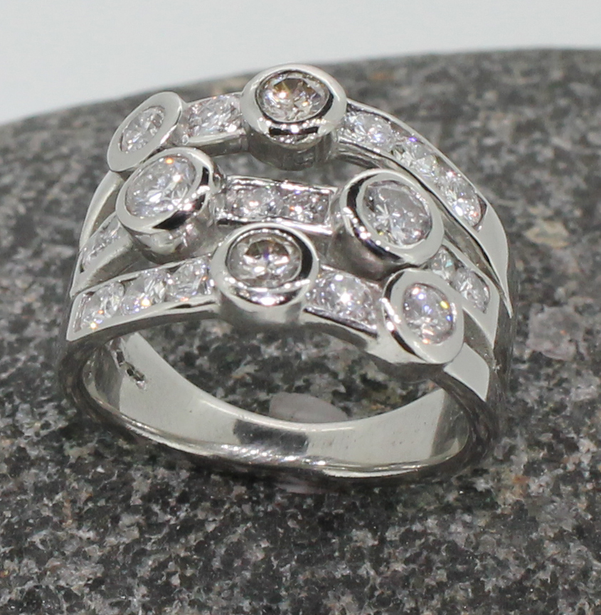 Diamond set multi band ring