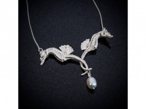 Double seahorse and pearl necklace Patricia Dudgeon Designs