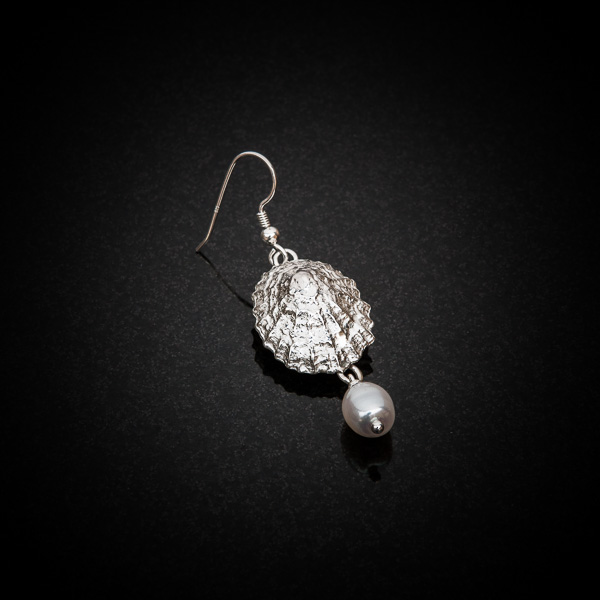 Large limpet shell, pearl drop earrings by Patricia Dudgeon Designs
