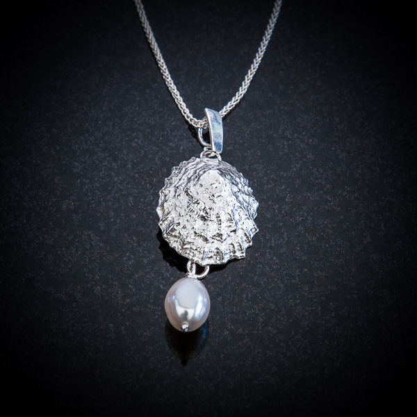 Large Limpet Pendant with Pearl Drop by Patricia Dudgeon Designs