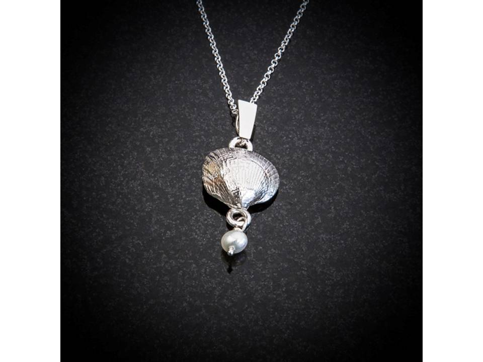 Silver Scallop shell and pearl pendant by Patricia Dudgeon Designs