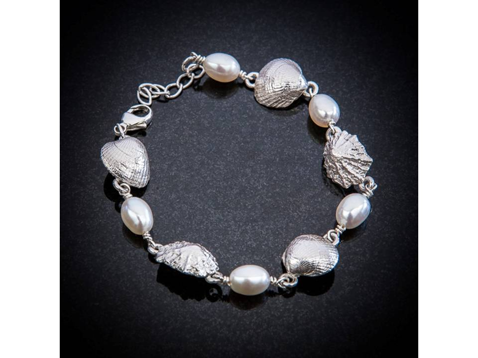 Silver shell and pearl bracelet by Patricia Dudgeon Designs