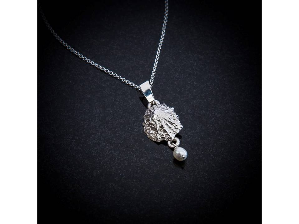 Baby limpet shell and pearl pendant by Patricia Dudgeon Designs