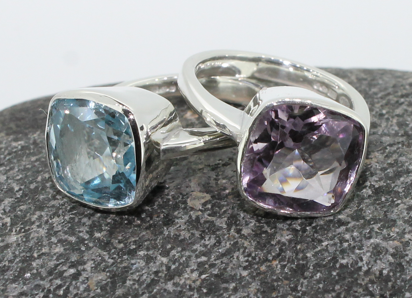 silver cushion shaped stones cocktail rings