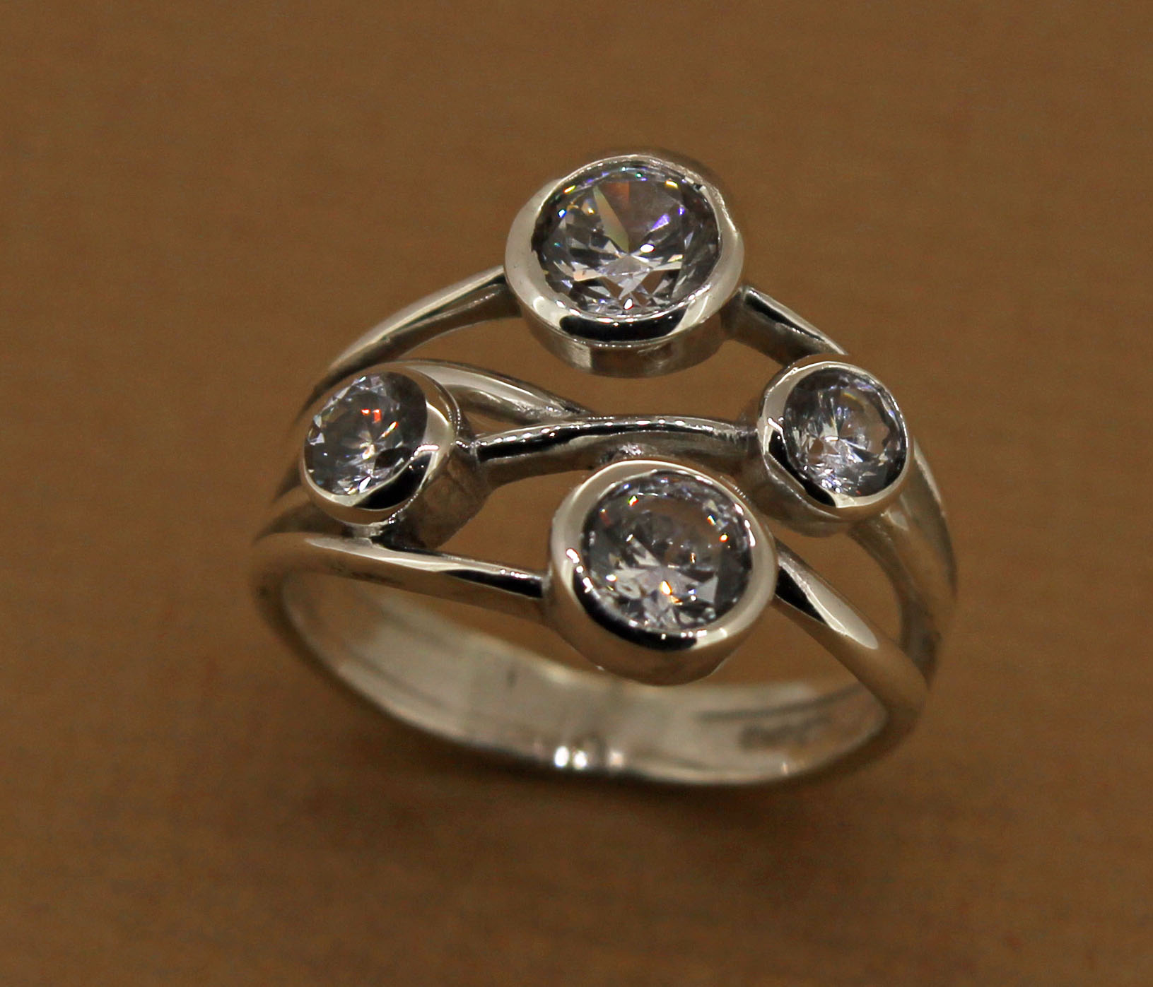 silver multi stone band dress ring