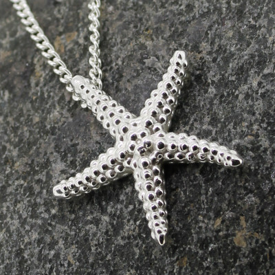 Large silver starfish pendant on chain