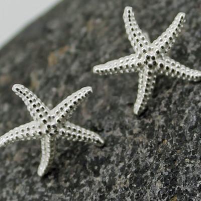 Silver small starfish stud earring