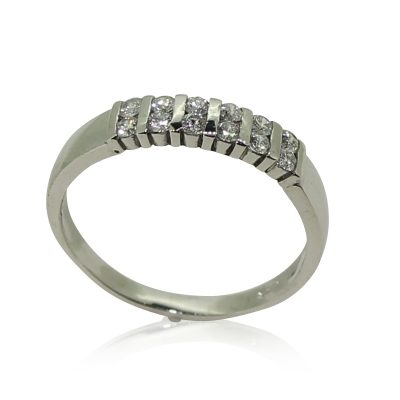 Double row diamond eternity ring in 18ct with gold by Patricia Dudgeon Designs.Set with 12 x 2mm brilliant cut diamonds. Hallmarked 18ct gold.