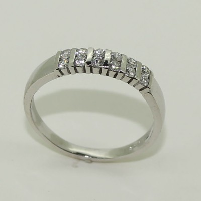 18ct white gold double row diamond eternity style ring