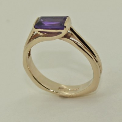Cradle set Amethyst in 9ct yellow dress gold ring