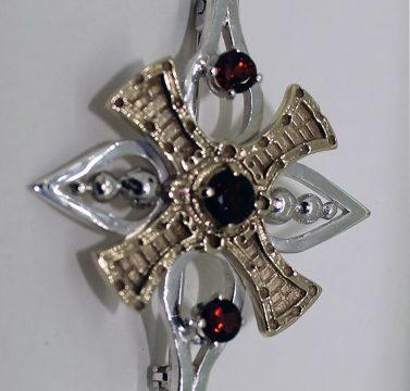 garnet silver and gold flower brooch