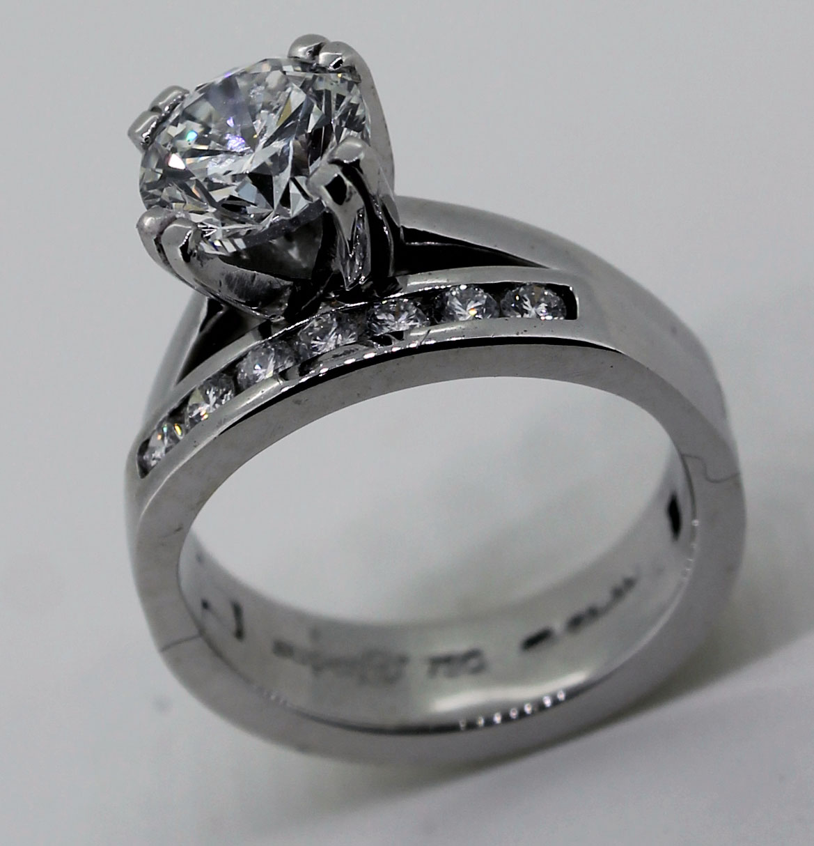 Diamond engagment and eternity ring on one Cliq band