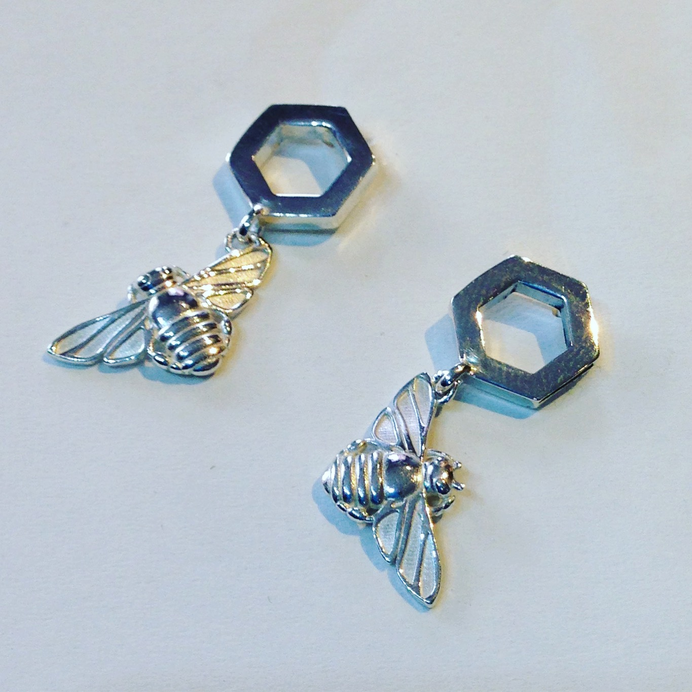 Honey bee earrings from Patricia Dudgeon Designs