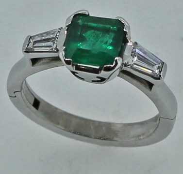 Emerald and tapering diamond white gold ring on superfit shank
