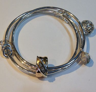 Three wire bangle and charms by Patricia Dudgeon Designs