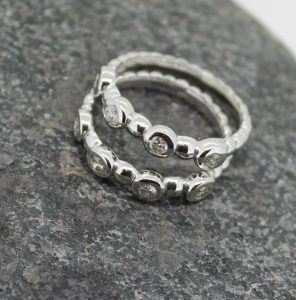 Diamond set bead rings