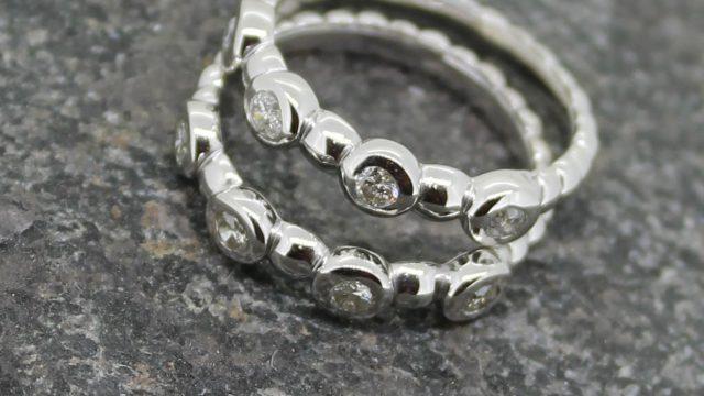 Diamond set bead rings