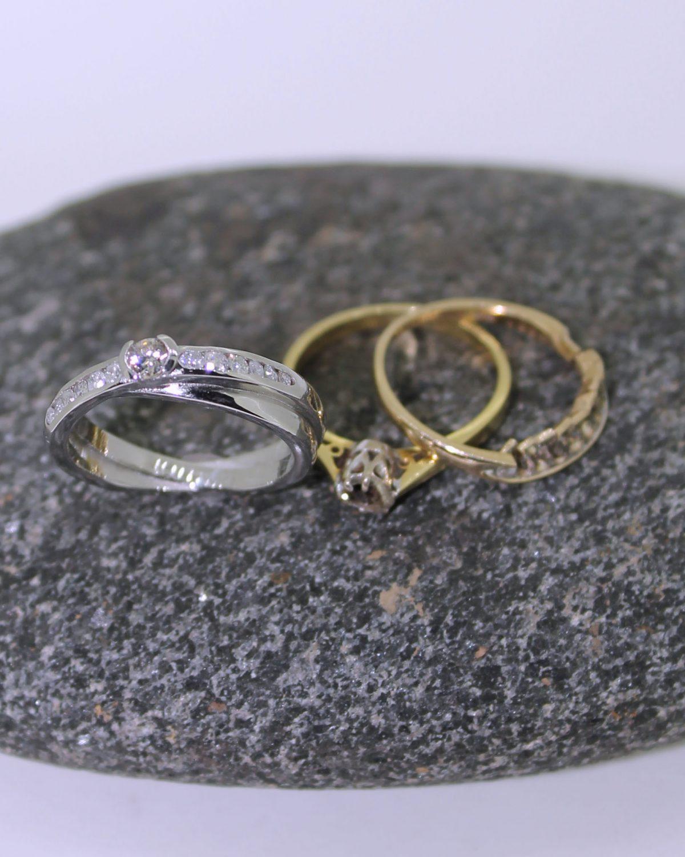 Palladium and diamond kiss style ring