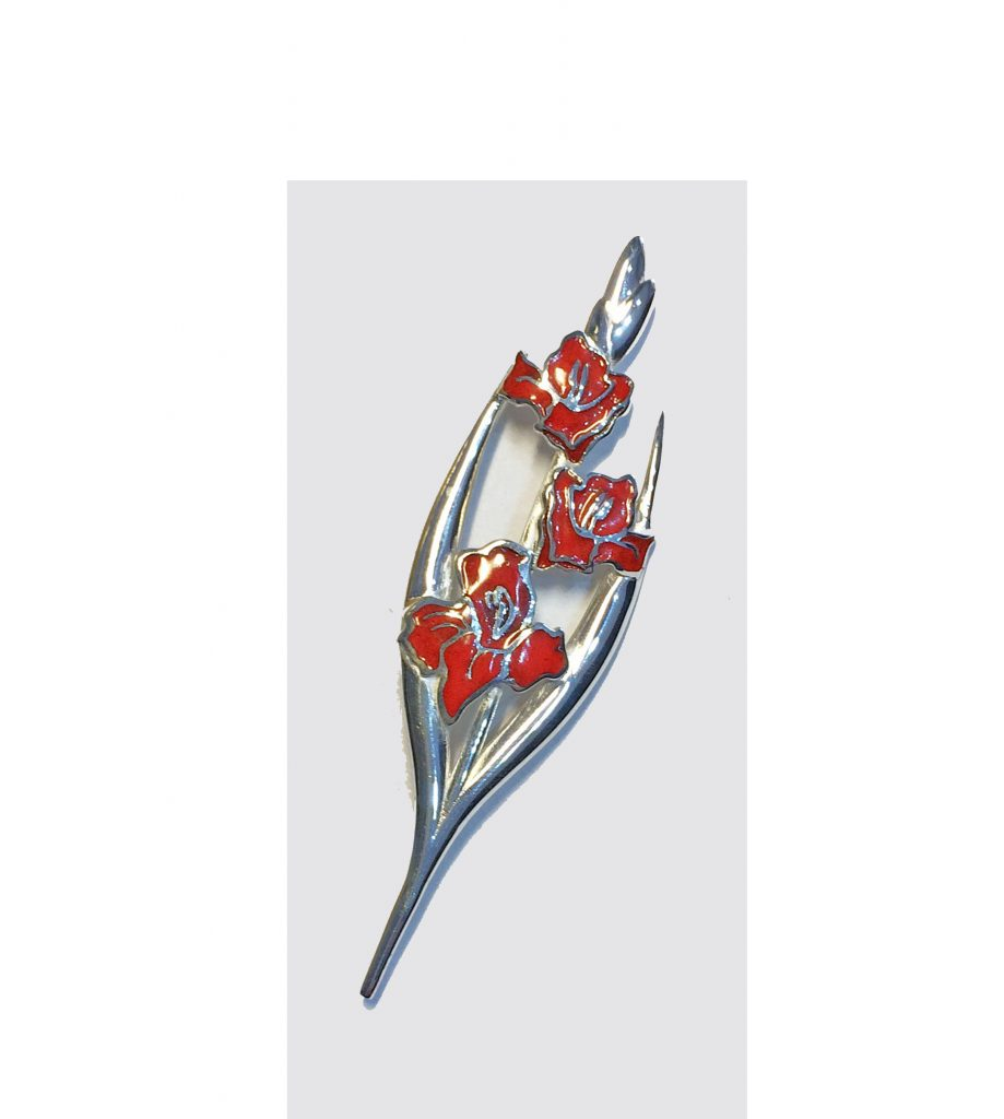 Gladioli enamelled brooch. Silver Gladioli design brooch with red enamel finish complete with pin, revolving catch and safety chain on rear.