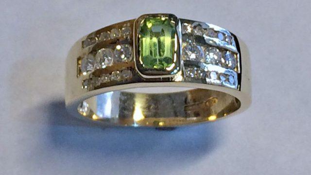 rectangle peridot and channel set diamonds ring