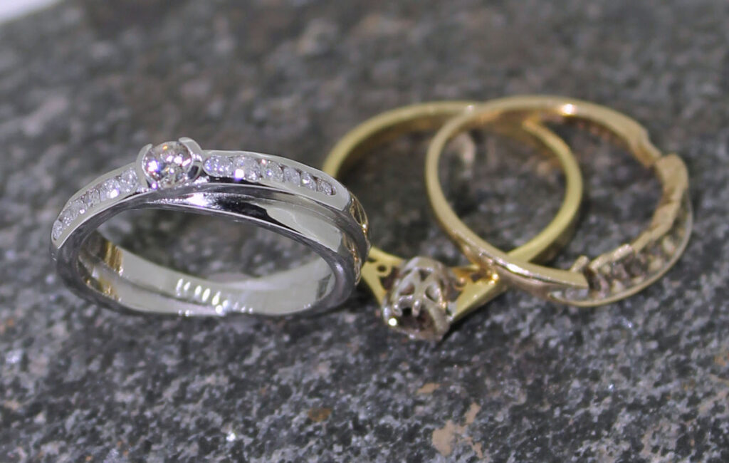 before and after Old rings to new platinum diamond set ring